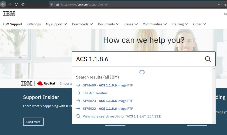 IBM SupportページからACSのPTF情報を検索